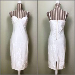 NWOT Latex Midi Dress White S